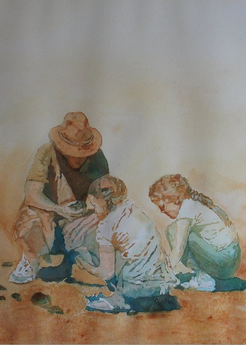 Fathers Greeting Card featuring the painting The Pumice Seekers by Jenny Armitage