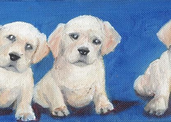 Yellow Greeting Card featuring the painting The Pups 1 by Roger Wedegis