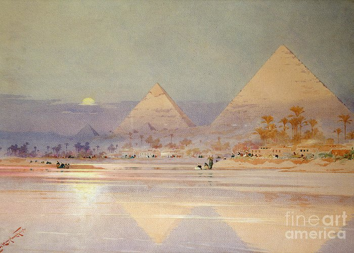 The Greeting Card featuring the painting The Pyramids At Dusk by Augustus Osborne Lamplough