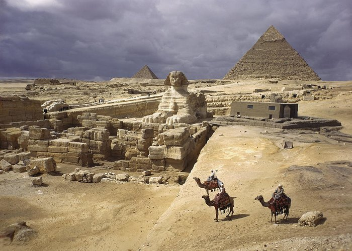 Pyramids Of Giza Greeting Card featuring the photograph The Pyramids Of Giza And The Great by B. Anthony Stewart