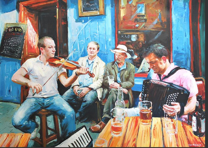 Streetscape Greeting Card featuring the painting The Quay Players by Conor McGuire