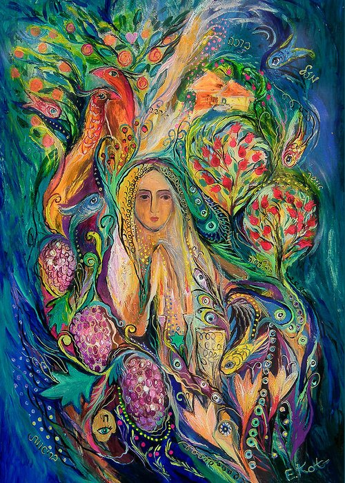 Original Greeting Card featuring the painting The Queen Of Shabbat by Elena Kotliarker