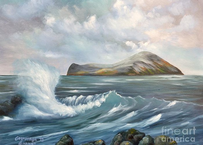 Seascape Greeting Card featuring the painting The Rabbit Island by Larry Geyrozaga