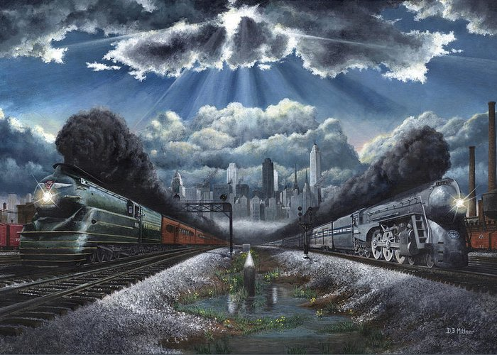 Trains Greeting Card featuring the painting The Race by David Mittner