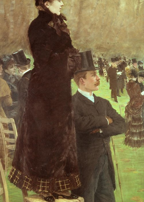 The Greeting Card featuring the painting The Races At Auteuil by Joseph de Nittis