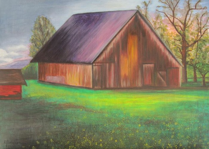Oil Greeting Card featuring the painting The Ranch by Leslie Gustafson