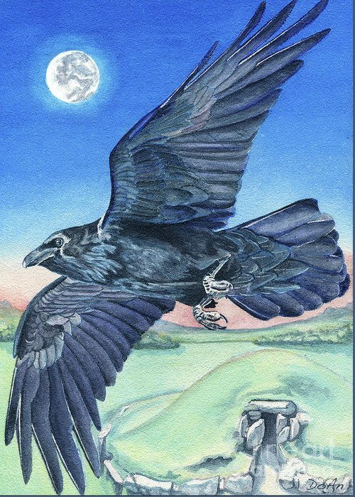 Raven Greeting Card featuring the painting The Raven by Antony Galbraith