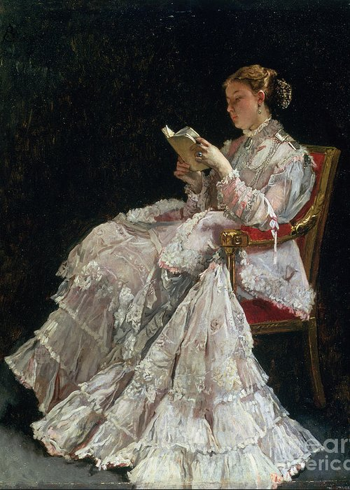 Woman Reading Greeting Card featuring the painting The Reader by Alfred Emile Stevens