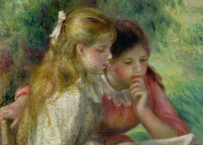 The Greeting Card featuring the painting The Reading by Pierre Auguste Renoir