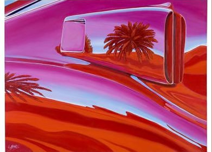 Car Greeting Card featuring the painting The Real Scoop On Shelby - Inaugural Las Vegas Concours Poster Art by Lynn Masters