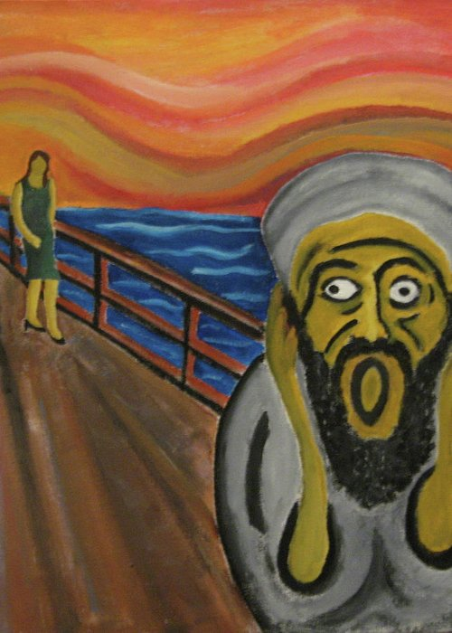 Terror Greeting Card featuring the painting The Real Terror by Darren Stein