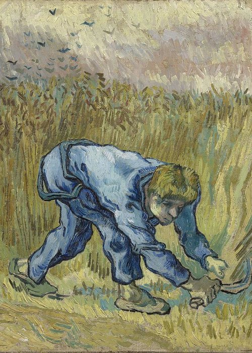 Art Greeting Card featuring the painting The Reaper After Millet Saint Remy De Provence, September 1889 Vincent Van Gogh 1853 1890 by Artistic Panda