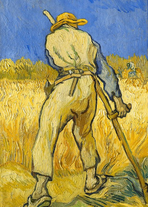 Agricultural Worker; Agriculture; Backview; Belt; Blue Sky; Clogs; Closeup; Clothes; Clothing; Countryside; Crop; Daytime; Dutch Art; Dutch Artist; European Artist; Farm Worker; Farming; Field; Full-length; Garment; Hammer; Hand Tool; Hat; Harvest; Harvesting; Harvester; Modern Art; Legs Apart; Livelihood; Looking Down; Male; Man; Post-impressionism; Post-impressionist; Reaper; Rearview; Rural; Scythe; Sickle; Sky; Standing; Sunlight; Sunny; Trousers; Twist; Twisted; Using Hands; Work; Worker Greeting Card featuring the painting The Reaper by Vincent van Gogh