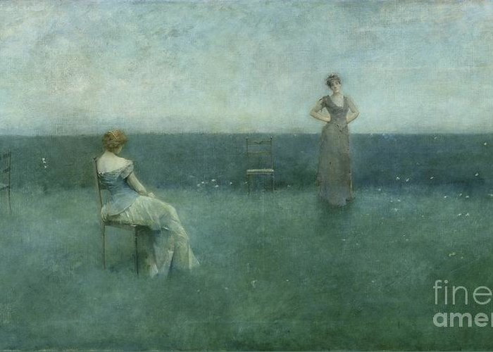 The Greeting Card featuring the painting The Recitation by Thomas Wilmer Dewing