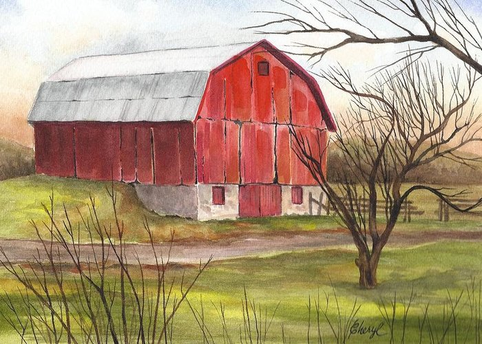 Barns Greeting Card featuring the painting The Red Barn by Cheryl Bannister