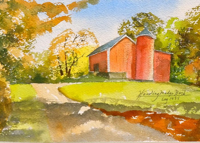 New England Barn. Greeting Card featuring the painting The Red Barn by Harding Bush