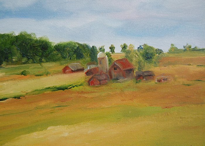Barn Greeting Card featuring the painting The Red Barn by Lisa Konkol