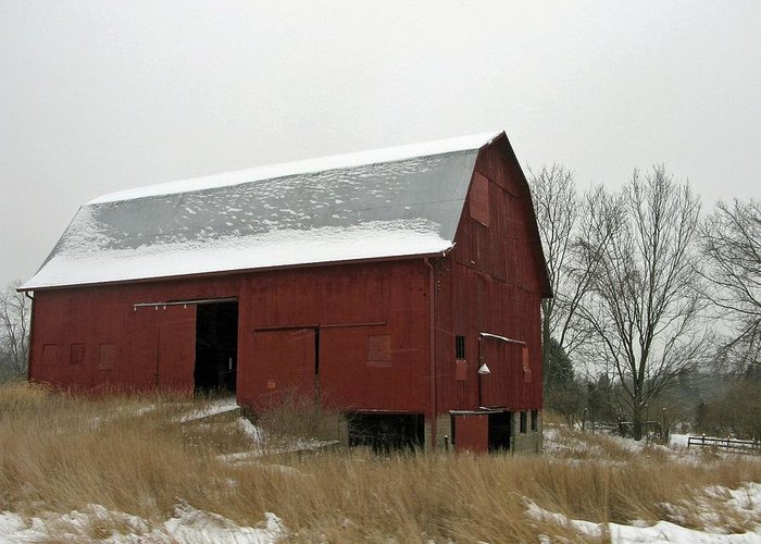 Weather Greeting Card featuring the photograph The Red Barn by Martie DAndrea