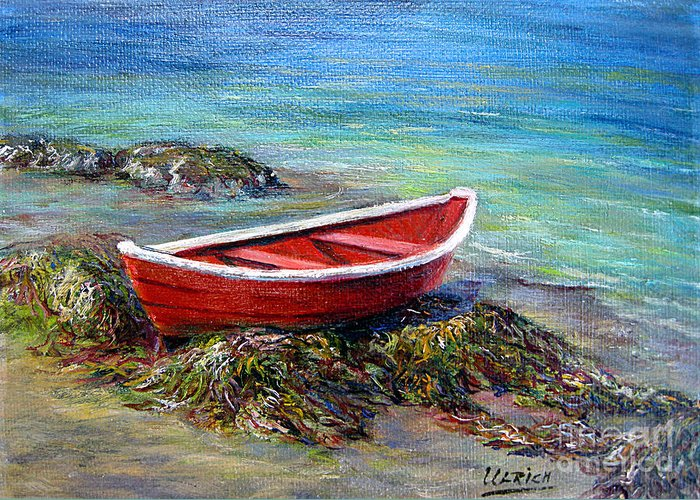 Boat Greeting Card featuring the painting The Red Boat by Jeannette Ulrich