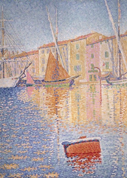The Red Buoy Greeting Card featuring the painting The Red Buoy by Paul Signac