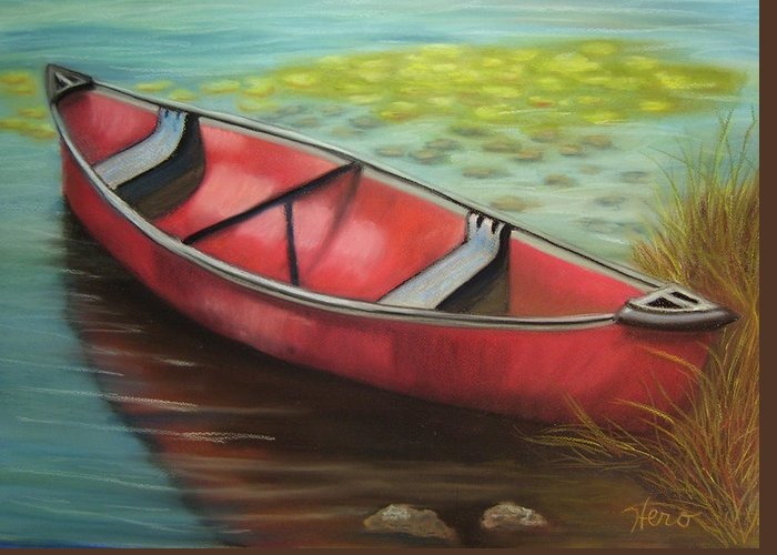 Red Greeting Card featuring the pastel The Red Canoe by Marcia Hero