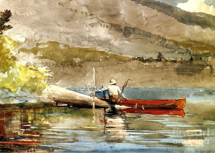 Landscape Greeting Card featuring the painting The Red Canoe by Pg Reproductions