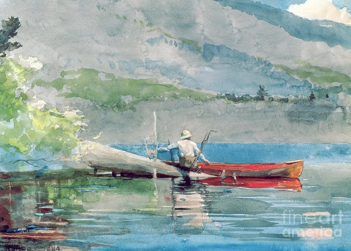 The Red Canoe Greeting Card featuring the painting The Red Canoe by Winslow Homer