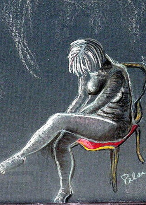 Nude Greeting Card featuring the drawing The Red Chair by Pilar Martinez-Byrne
