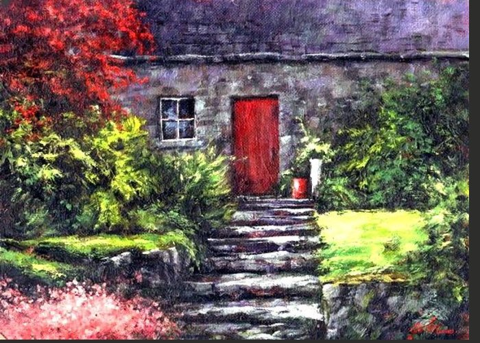 Ireland Greeting Card featuring the painting The Red Door by Jim Gola