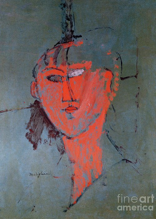 The Greeting Card featuring the painting The Red Head by Amedeo Modigliani