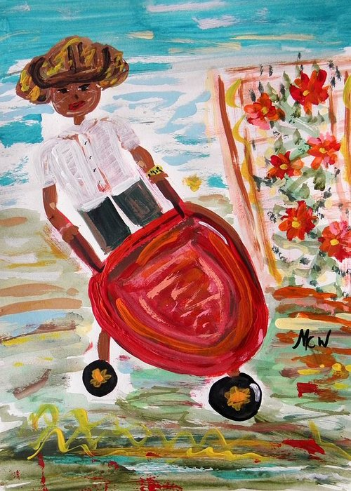 Girl Greeting Card featuring the painting The Red Steel Barrow by Mary Carol Williams