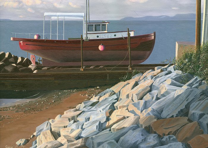 Ship Greeting Card featuring the painting The Red Troller Revisited by Gary Giacomelli