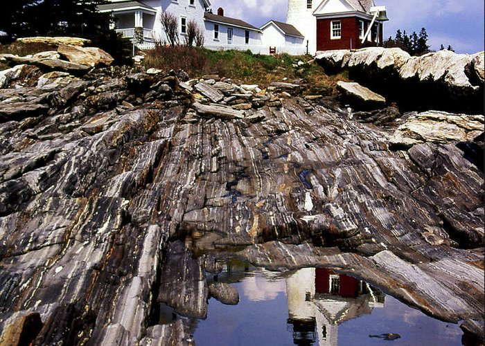 Lighthouses Greeting Card featuring the photograph The Reflection At Pemaquid by Skip Willits