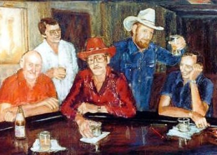 Cowboy Group Portrait Greeting Card featuring the painting The Regulars by Helen Hickey