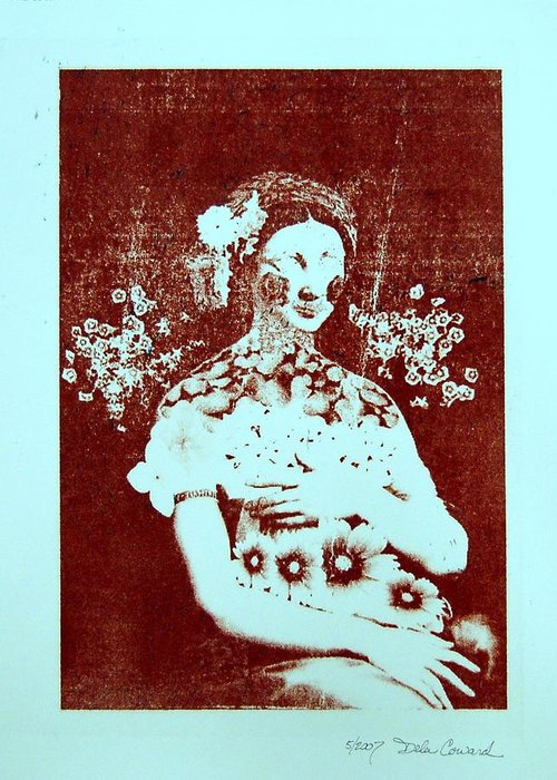 Abstract Greeting Card featuring the print The Renaissance Woman by DeLa Hayes Coward