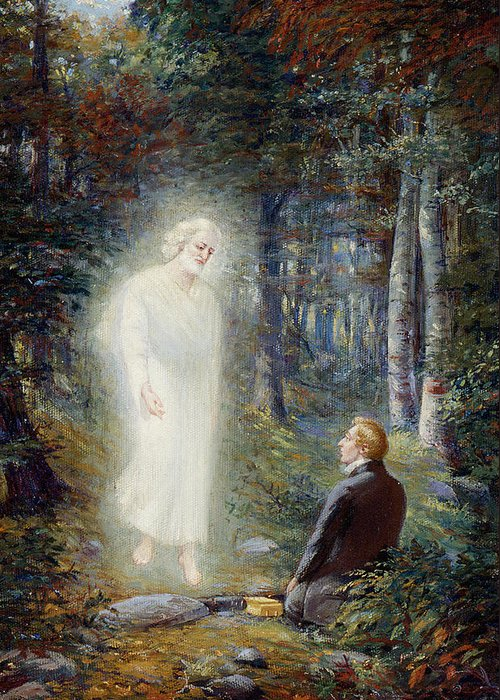Angel Moroni Greeting Card featuring the painting The Restoration by Lewis A Ramsey