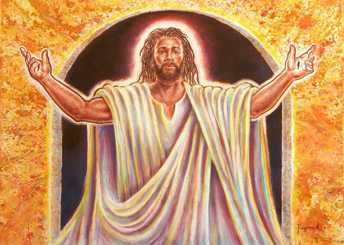 Jesus Greeting Card featuring the painting The Resurrection And The Life by Raymond Walker
