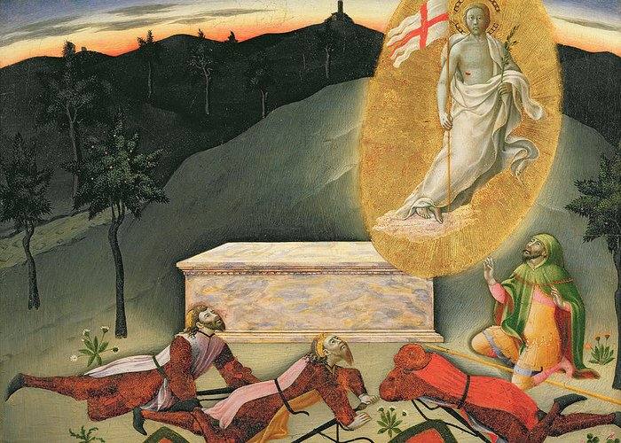 The Greeting Card featuring the painting The Resurrection by Master of the Osservanza