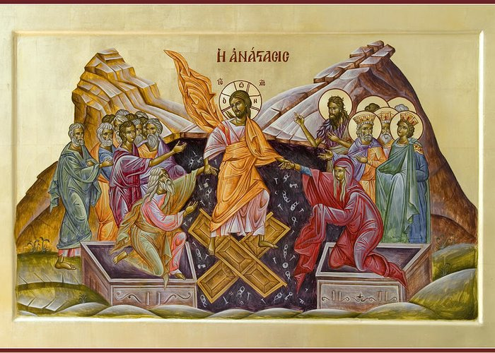 Icon Greeting Card featuring the painting The Resurrection Of Christ by Julia Bridget Hayes
