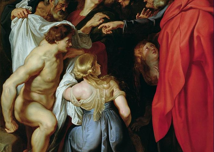 The Greeting Card featuring the painting The Resurrection Of Lazarus by Rubens