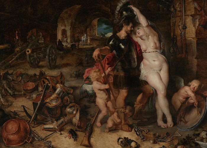 Peter Paul Rubens Greeting Card featuring the painting The Return From War- Mars Disarmed By Venus 2 by Peter Paul Rubens