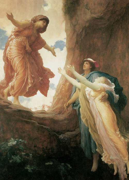Frederick Leighton Greeting Card featuring the painting The Return Of Persephone by Frederick Leighton