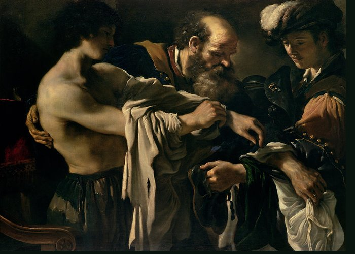 The Greeting Card featuring the painting The Return Of The Prodigal Son by Giovanni Francesco Barbieri