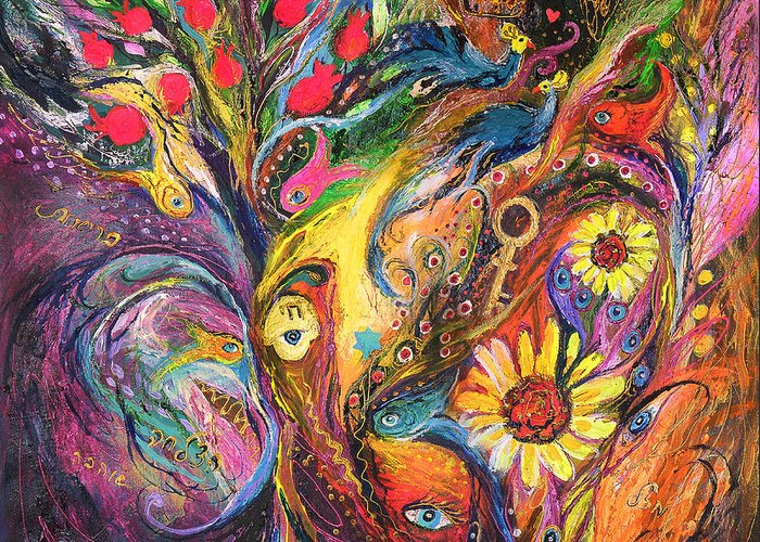 Original Greeting Card featuring the painting The Rhapsody Of Love by Elena Kotliarker