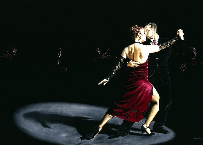 Tango Greeting Card featuring the painting The Rhythm Of Tango by Richard Young