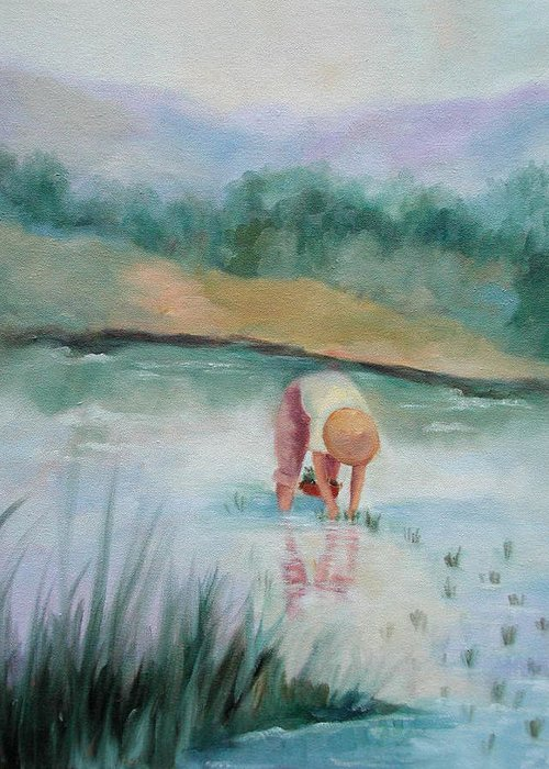Figurative Greeting Card featuring the painting The Rice Planter by Ginger Concepcion
