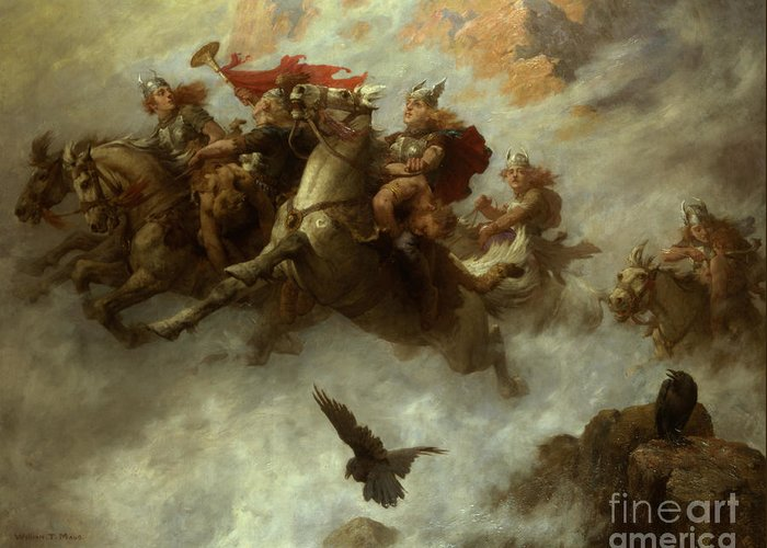 The Greeting Card featuring the painting The Ride Of The Valkyries by William T Maud