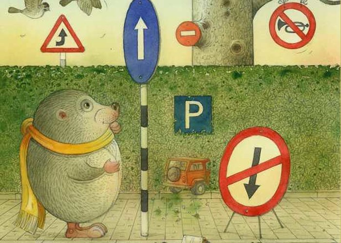Illustration From Book Strawberry Day By Kestutis Kasparavicius Greeting Card featuring the painting The Right-hand Hedgehog 02 by Kestutis Kasparavicius