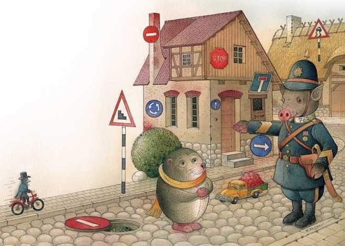 Illustration From Book Strawberry Day By Kestutis Kasparavicius Greeting Card featuring the painting The Right-hand Hedgehog by Kestutis Kasparavicius