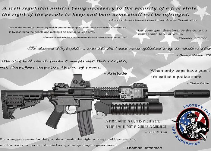 Guns Greeting Card featuring the digital art The Right To Bear Arms by Daniel Hagerman